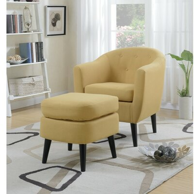 Faria Polyfiber Armchair and Cocktail Ottoman Upholstery: Yellow