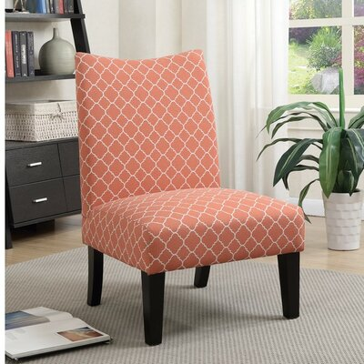 Finlay Patterned Fabric Slipper Chair Upholstery: Orange