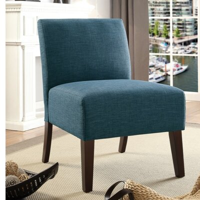 Finnerty Wooden Armless Slipper Chair Upholstery: Blue