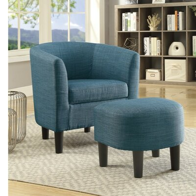 Finnell Dorris Fabric Armchair and Ottoman Upholstery: Blue