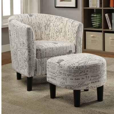 Finnell Dorris Fabric Armchair and Ottoman Upholstery: White