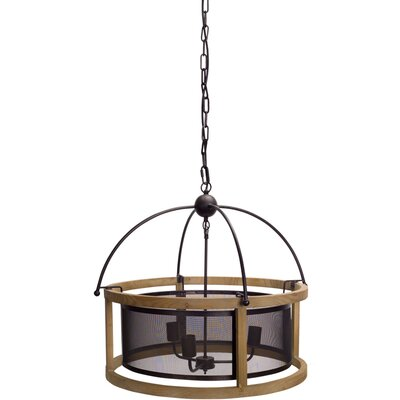 Noren Hanging 3-Light Lamp Drum Chandelier
