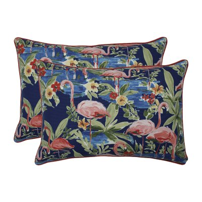 Thorndale Flamingoing Lagoon Indoor/Outdoor Lumbar Pillow
