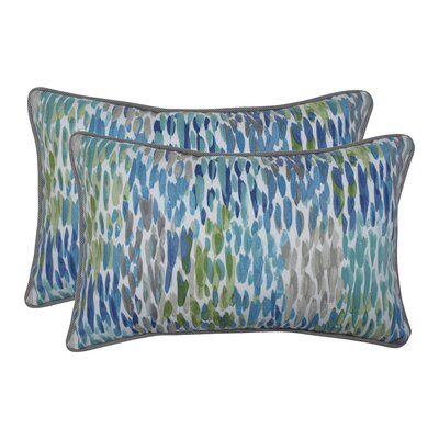Greaves Make It Rain Cerulean Indoor/Outdoor Lumbar Pillow
