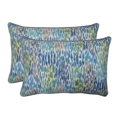 Greco Make It Rain Cerulean Indoor/Outdoor Lumbar Pillow