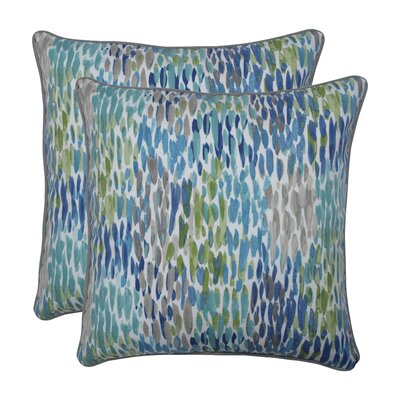 Gravley Make It Rain Cerulean Indoor/Outdoor Throw Pillow
