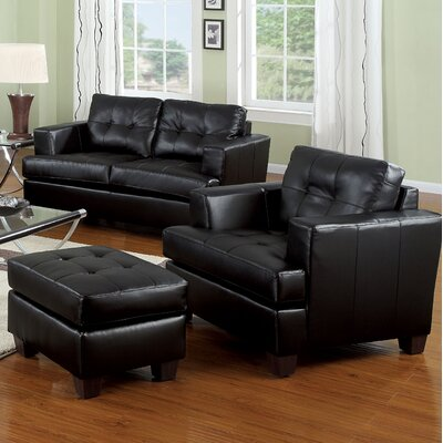 Fort Washington Accent Chair and Ottoman Finish: Black
