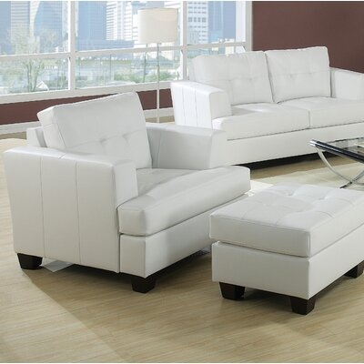 Fort Washington Accent Chair and Ottoman Finish: White