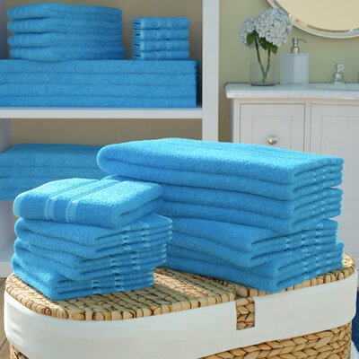 Seminole 100% Combed Cotton 550 GSM 20 Piece Towel Set Color: Sea Blue