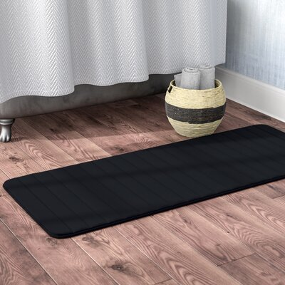 Bibiana Extra Long Striped Memory Foam Bath Mat Color: Black