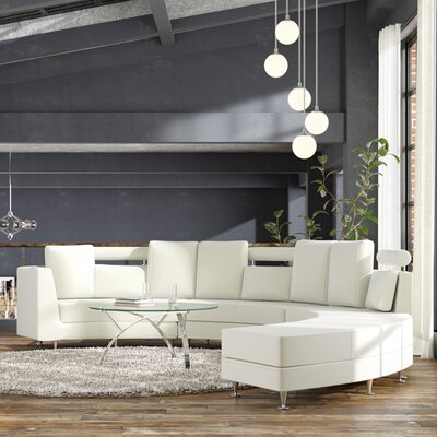 Roberson Leather 4 Piece Living Room Set Upholstery: Off-White