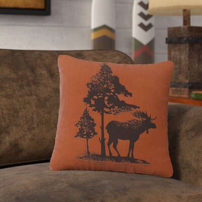 Nakagawa Moose Tree Throw Pillow Color: Paprika