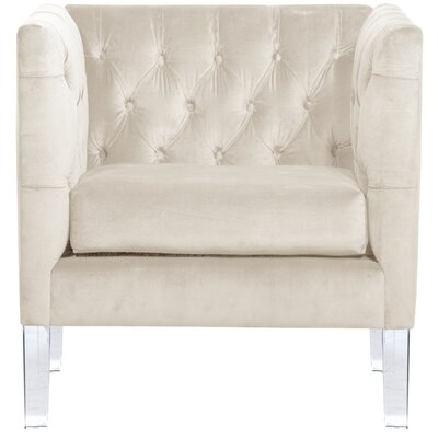 League Tufted Arm Chair Color: Antique White