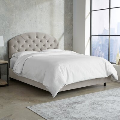 Morvant Tufted Arched Upholstered Panel Bed Size: King, Color: Light Gray