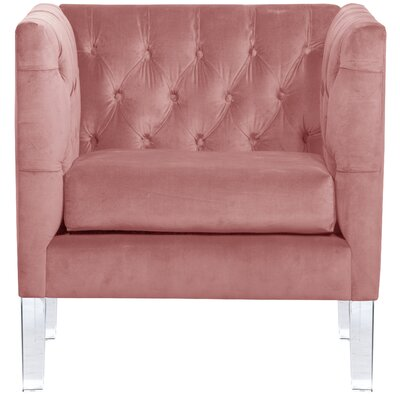League Tufted Arm Chair Color: Mahogany Rose