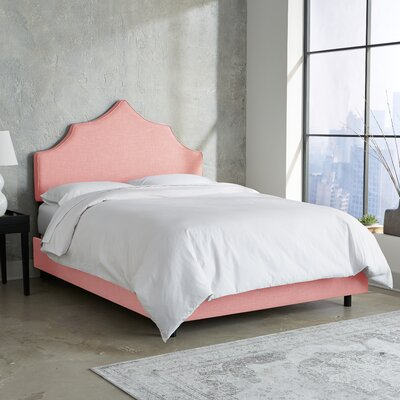 Suttons Notched Upholstered Panel Bed Size: Twin, Color: Petal