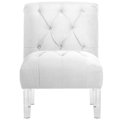 Hollon Tufted Armless Slipper Chair Color: White