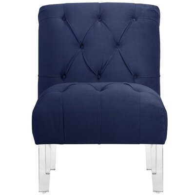 Hollon Tufted Armless Slipper Chair Color: Navy