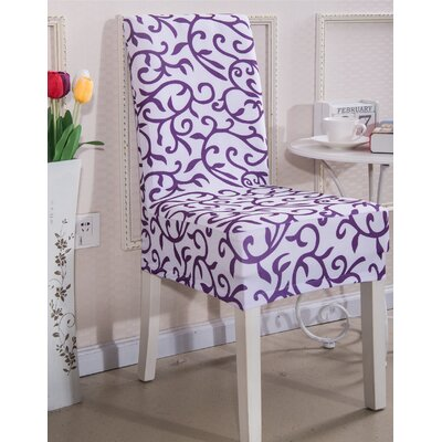 Elegant Box Cushion Dining Chair Slipcover Upholstery: Purple Morning Glory