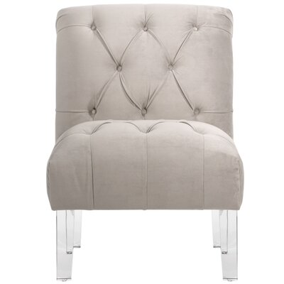 Hollon Tufted Armless Slipper Chair Color: Light Gray