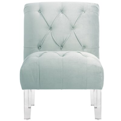 Hollon Tufted Armless Slipper Chair Color: Pool