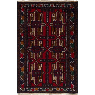 One-of-a-Kind Bilbo Red Hand-Knotted Wool Red Area Rug