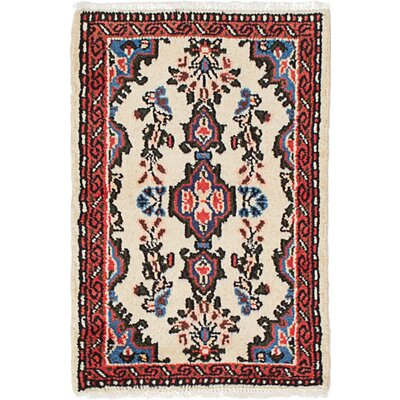 One-of-a-Kind Roth Hand-Knotted Wool Cream/Orange Area Rug