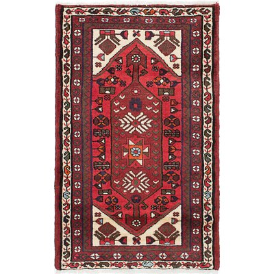 One-of-a-Kind Roth Hand-Knotted Wool Dark Burgundy Area Rug