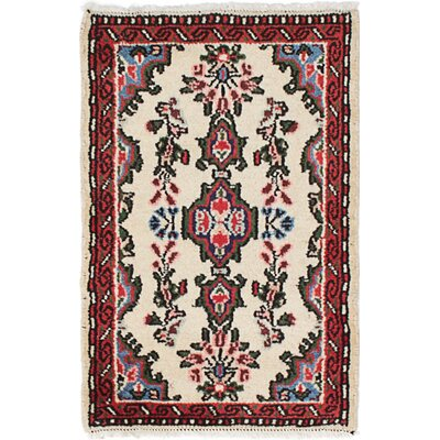 One-of-a-Kind Roth Hand-Knotted Wool Cream Area Rug