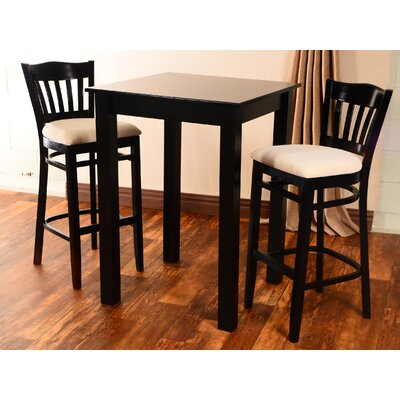 Eberhard 3 Piece Pub Table Set Finish: Black