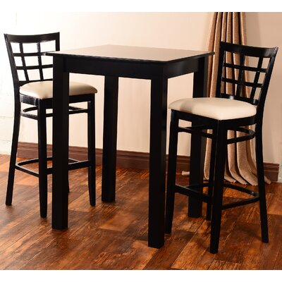 Laszakovits 3 Piece Pub Table Set Finish: Black