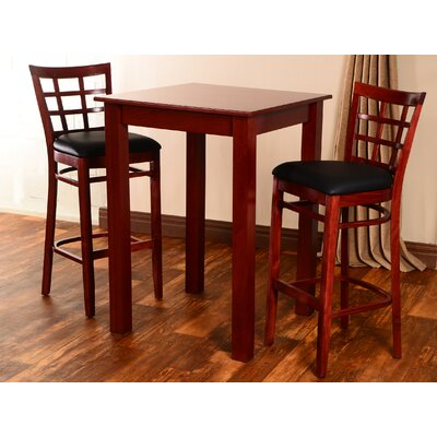 Laszakovits 3 Piece Pub Table Set Finish: Mahogany