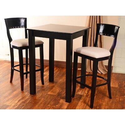 Beidremier 3 Piece Pub Table Set Finish: Black