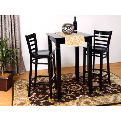 Ladderback 3 Piece Pub Table Set Finish: Black