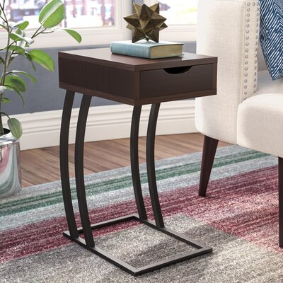 Keira End Table With Storage Color: Cappuccino