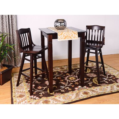 Swivel 3 Piece Pub Table Set Finish: Black