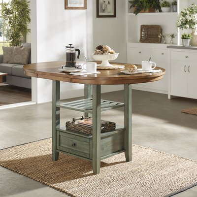 Mariotti Counter Height Extendable Dining Table Base Color: Antique Sage