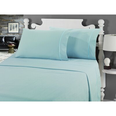 Galante Heathered Striae Microfiber Sheet Set Color: Seamist, Size: Full