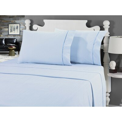 Galante Heathered Striae Microfiber Sheet Set Color: Blue, Size: Queen