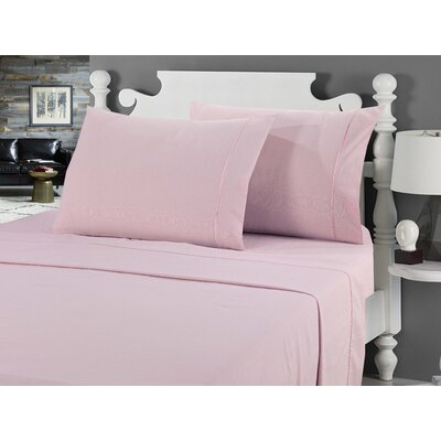 Galante Heathered Striae Microfiber Sheet Set Color: Mauve, Size: Queen