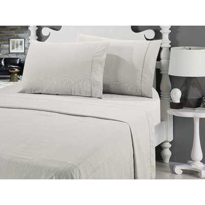 Galante Heathered Striae Microfiber Sheet Set Color: Taupe, Size: King