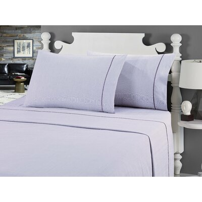 Galante Heathered Striae Microfiber Sheet Set Color: Purple, Size: Full