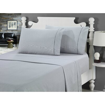Galante Heathered Striae Microfiber Sheet Set Color: Gray, Size: Full