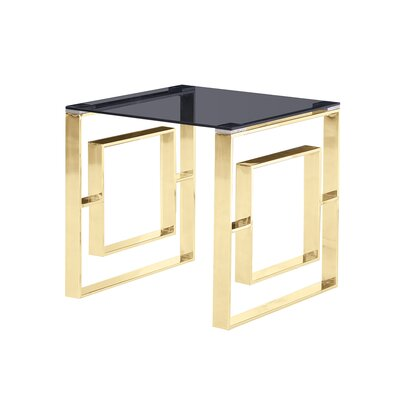 Duraisamy End Table Table Base Color: Gold