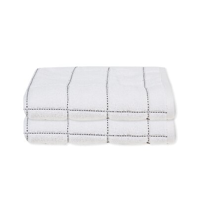 Elkin Check Bath Towel Color: White