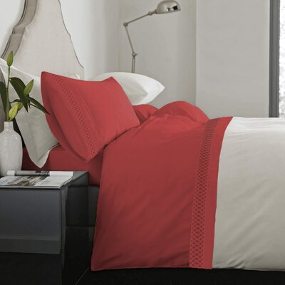 Feagin Laser Cut Hem Microfiber Sheet Set Color: Coral, Size: Full