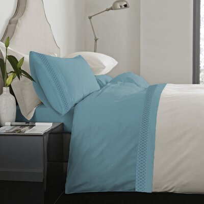 Feagin Laser Cut Hem Microfiber Sheet Set Color: Aqua, Size: Full