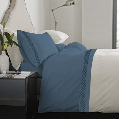 Feagin Laser Cut Hem Microfiber Sheet Set Color: Denim, Size: Queen