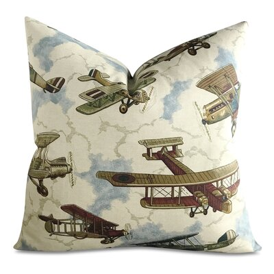 Visalia Vintage Airplane Aviator Print Decorative Pillow Cover