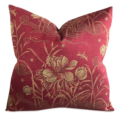 Beckford Floral Iris and Dragonfly Luxury Woven Decorative Pillow Cover